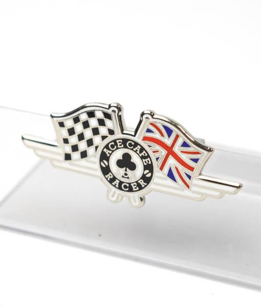 UK Flag Badge angle shot